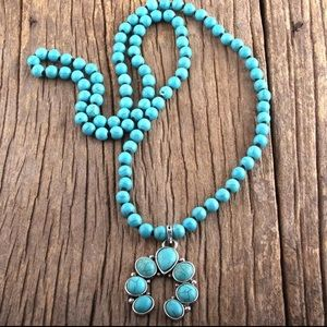 NEW Turquoise Squash Blossom beaded necklace